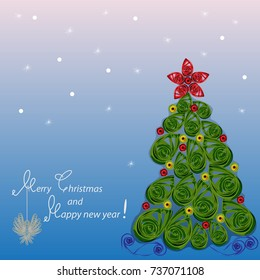 "Greeting card ""Merry Christmas and Happy new year!"" the squared raster image in color in Paper Quiling styl"