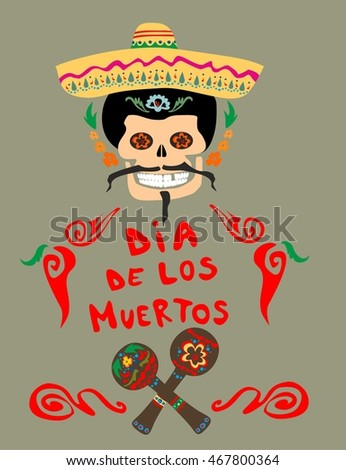 Greeting card mexican day dead stock illustration 467800364 greeting card for mexican day of dead m4hsunfo