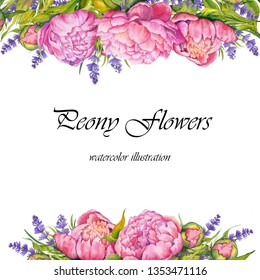 Greeting card with peony and lavender flowers. Watercolor on white background.