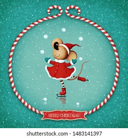 Greeting card or poster with  rat or Mouse dance on ice in  Christmas frame.