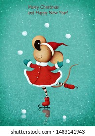Greeting card or poster with  rat or Mouse dance on ice for  Christmas or New Year