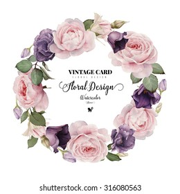 Greeting card with roses, dogrose and buttercups, watercolor, can be used as invitation card for wedding, birthday and other holiday and  summer background
