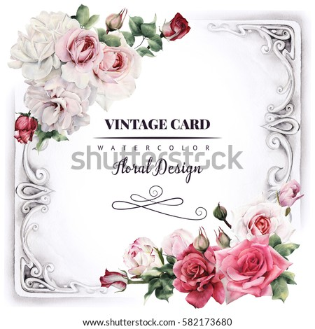 Greeting Card With Roses Watercolor Can Be Used As Invitation For Wedding