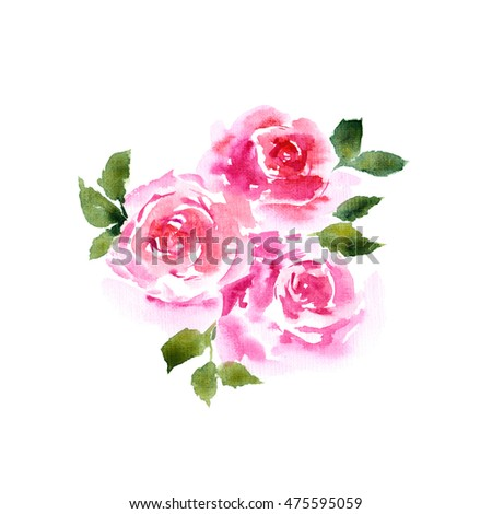 Greeting Card With Roses Watercolor Floral Bouquet Background Birthday Or Wedding