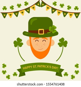 Greeting card for St. Patrick's day. Invitation to the Irish pub party. Happy St. Patrick's Day.