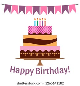 Greeting Card with Sweet Cake for Birthday Celebration