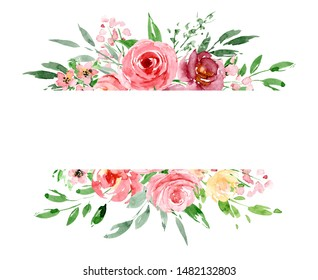 Greeting card template, banner with watercolor flowers, floral frame border with pink roses, illustration hand painting. Holiday decoration isolated on white background.