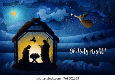 Greeting card of Traditional Christian Christmas Nativity Scene of baby Jesus in the manger with Mary and Joseph in silhouette. Holy Night.