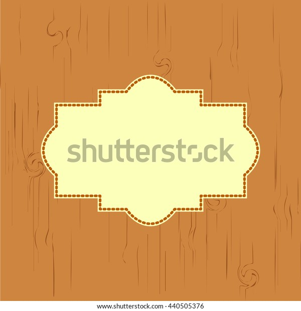 greeting card with a tree texture light brown in color, with space for text, stitched thread