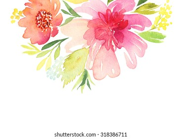Greeting card. Watercolor flowers background