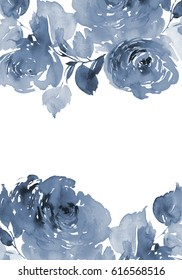 Greeting card with watercolor flowers handmade. The blue scale. Branch with roses.