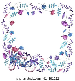 Greeting card with watercolor hand drawn floral elements and bicycle.