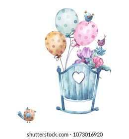 Greeting card with watercolor illustrations of baby cot, bouquet of flowers, polka dot balloons and a bird