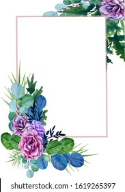 GREETING CARD WITH WATERCOLOR LILAC ROSES