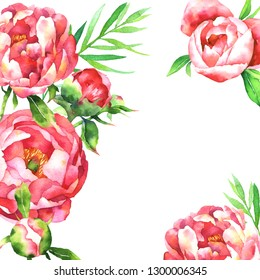 Greeting card with watercolor pink peony, leaves, branches, blossom, bud isolated on white background. Hand painted botanical illustration for floral design, invitation card for wedding, bithday.