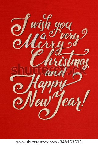 greeting card i wish you a very merry christmas and happy new year hand