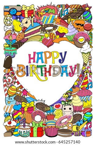 Greeting Cards Birthday Party Sweets Doodles Stock Illustration