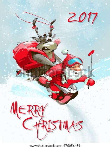 Funny Merry Christmas.Greeting Merry Christmas Card Funny Santa Stock Illustration