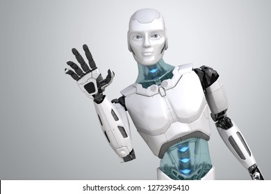 Greeting robot waves his hand on a light gray background. 3D illustration