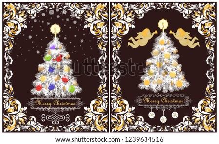 Greeting Vintage Xmas Cards Paper Cut Stock Illustration 1239634516 ...