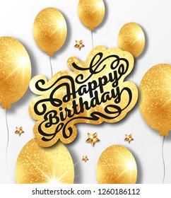 Greetings card. Handwritten modern brush lettering of Happy Birthday. Typography design.