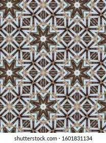 Greige, brown and blue geometric pattern