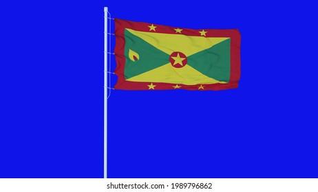 Grenada flag waving on wind on blue screen or chroma key background. 3d rendering.
