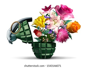 Grenade weapon and flowers as a symbol for terror or war and peace on a white background as an unexploded bomb object with a pin as a vintage explosive device with 3D illustration elements.
