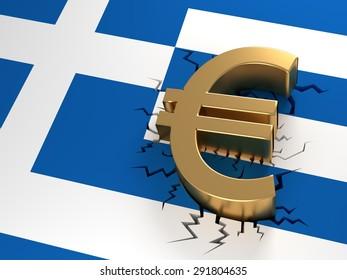 Grexit - Euro crashed on a crackled Greek flag. 3D Illustration.