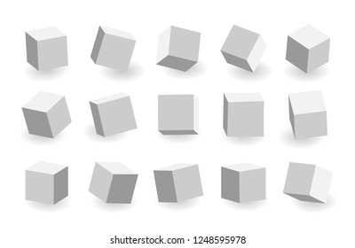 Grey 3D cubes pack isolated on white background. Different light, perspective and angle