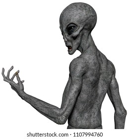 grey alien exploring around 3d illustration