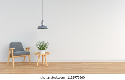 grey armchair in white room and blank space for mockup, 3D rendering