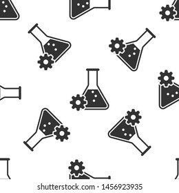 Grey Bioengineering icon isolated seamless pattern on white background. Element of genetics and bioengineering icon. Biology, molecule, chemical icon
