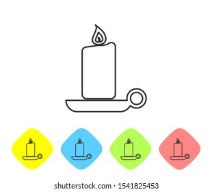 Grey Burning candle in candlestick line icon on white background. Old fashioned lit candle. Cylindrical aromatic candle stick with burning flame. Set icon in color rhombus buttons