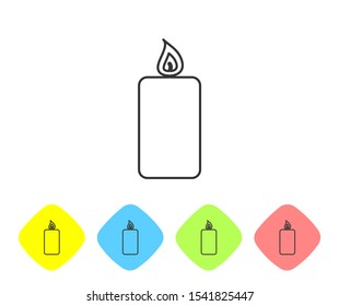 Grey Burning candle line icon isolated on white background. Old fashioned lit candle. Cylindrical aromatic candle stick with burning flame. Set icon in color rhombus buttons