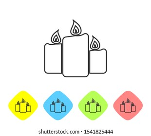 Grey Burning candles line icon isolated on white background. Old fashioned lit candles. Cylindrical aromatic candle sticks with burning flames. Set icon in color rhombus buttons