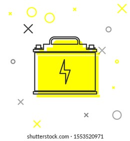 Grey Car battery line icon isolated on white background. Accumulator battery energy power and electricity accumulator battery. Lightning bolt symbol