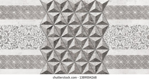 Grey colored geometric 3D wall art decor, Ceramic grey color tile Design For Bathroom,Abstract grey and white geometric pattern seamless, arabesque style,Japanese traditional motif style pattern.