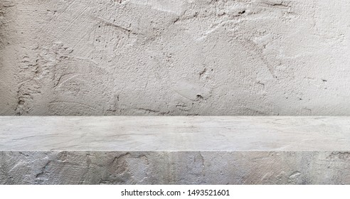grey concrete texture table product display background.3d perspective studio photography stand.banner mokc up space for showcase product.empty countertop backdrop..buseiness presentation for advertise