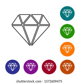 Grey Diamond line icon isolated on white background. Jewelry symbol. Gem stone
