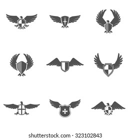 Grey eagle wings and feathers icons with shield set isolated  illustration