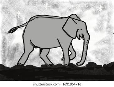 Grey Elephant walking down a starry path