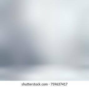 Grey empty room. Silver defocused texture. Metallic blurred wall. Clean floor. 3D illustration decor. Exclusive design.