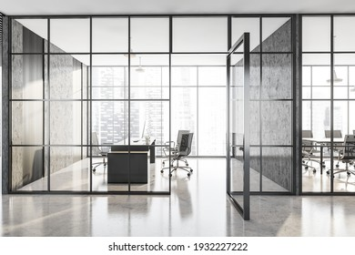 Grey executive room with black armchairs and wooden table. Office minimalist interior behind glass doors, front view, 3D rendering no people
