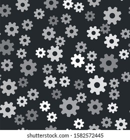 Grey Gear icon isolated seamless pattern on black background. Cogwheel gear settings sign. Cog symbol.