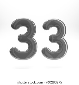 Grey glossy number thirty three 33 bold and regular. 3D rendering font painted with grey and light reflection isolatedon white background with clear shadow