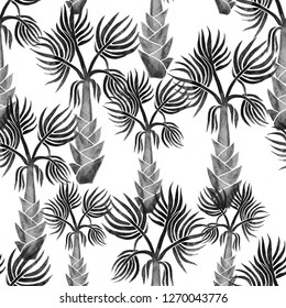 Grey hand drawn palm trees isolated on white background. Seamless pattern in cute cartoon style. Perfect for fabric, wallpaper or giftwrap.