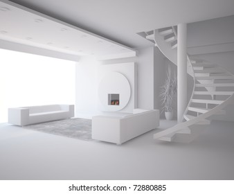 grey interior with fire