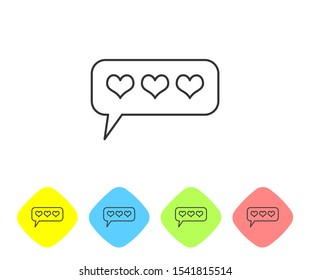 Grey Like and heart line icon isolated on white background. Counter Notification Icon. Follower Insta. Set icon in color rhombus buttons