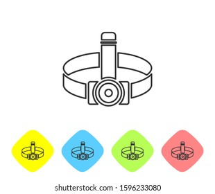 Grey line Head flashlight icon isolated on white background. Tourist head flashlight. Camping head light. Set icons in color rhombus buttons.